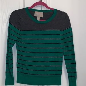 Gray, green, and silver, Banana Republic sweater